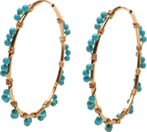 Large 14kt Gold Fill Endless Hoops with Sleeping Beauty Turquoise